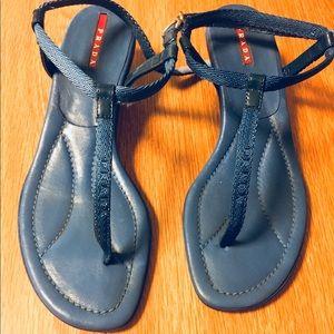 Shoes - Prada Azure kitten heels thong sandals